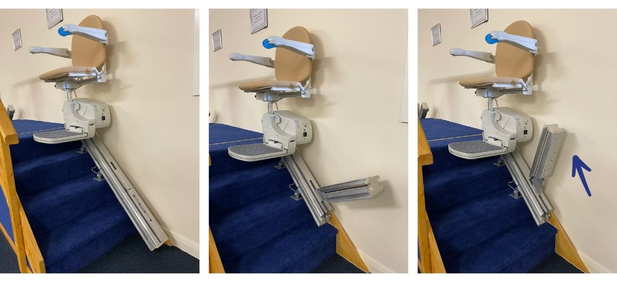 Hinged track for stairlift