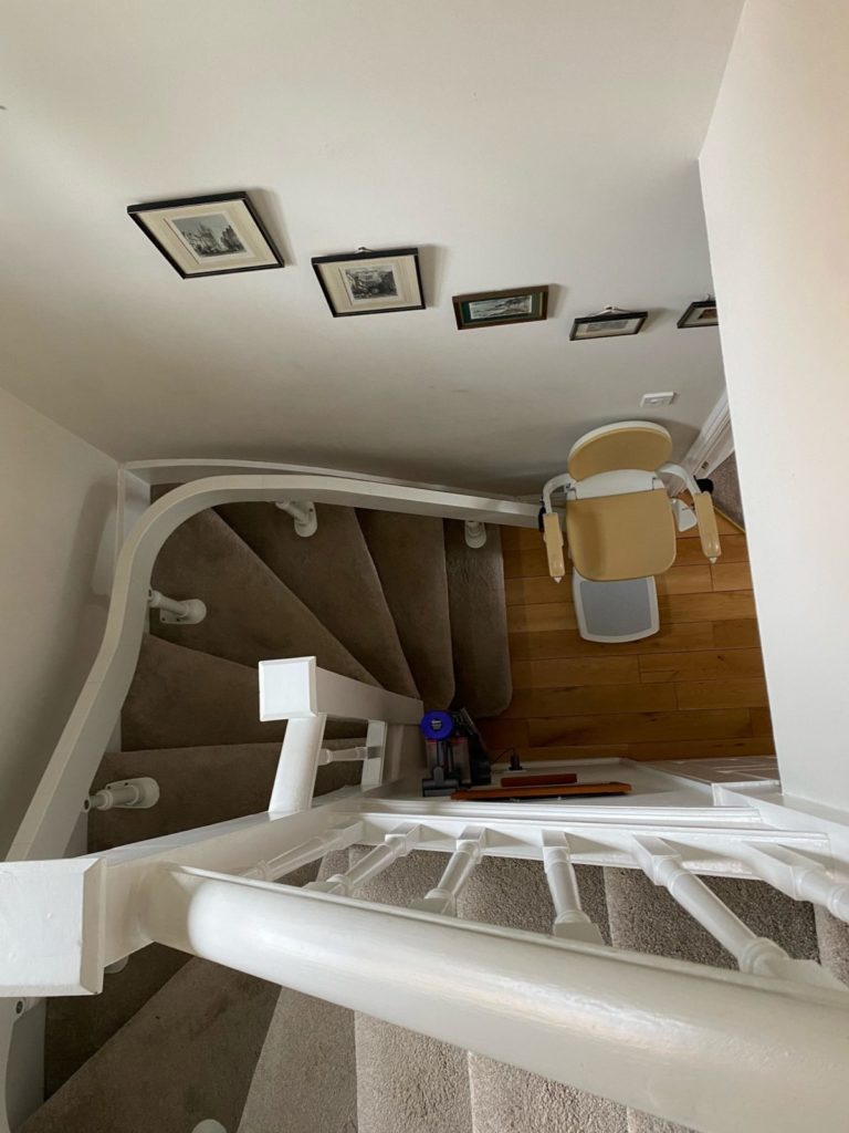 A good shot of one of our Bison 180 curved stairlifts